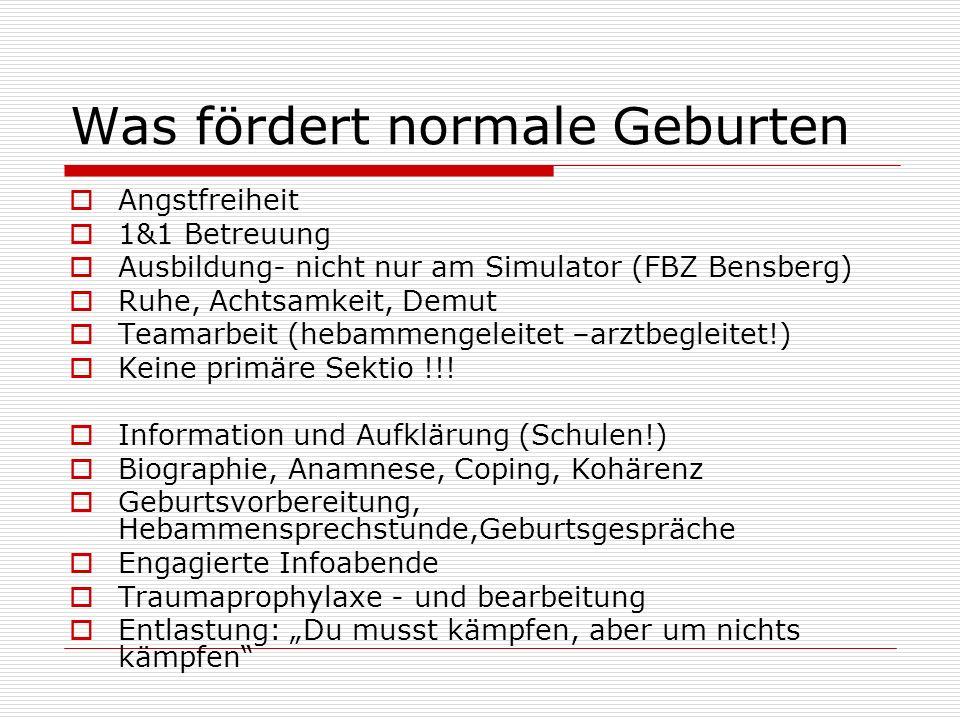 Was fördert normale Geburten Angstfreiheit 1&1 Betreuung Ausbildung- nicht nur am Simulator (FBZ Bensberg) Ruhe, Achtsamkeit, Demut Teamarbeit (hebamm