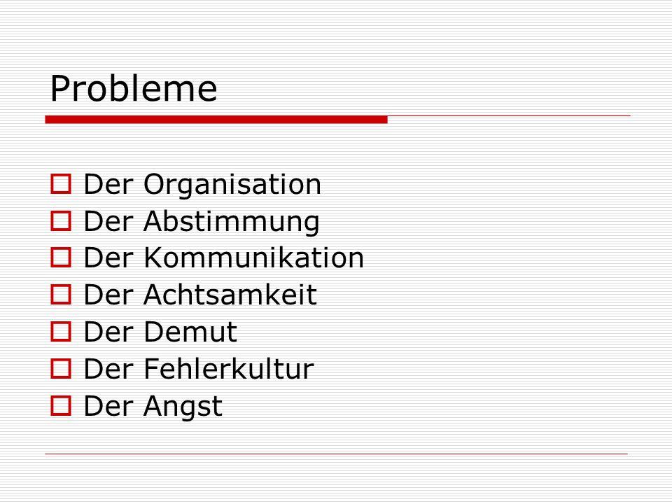 Probleme Der Organisation Der Abstimmung Der Kommunikation Der Achtsamkeit Der Demut Der Fehlerkultur Der Angst