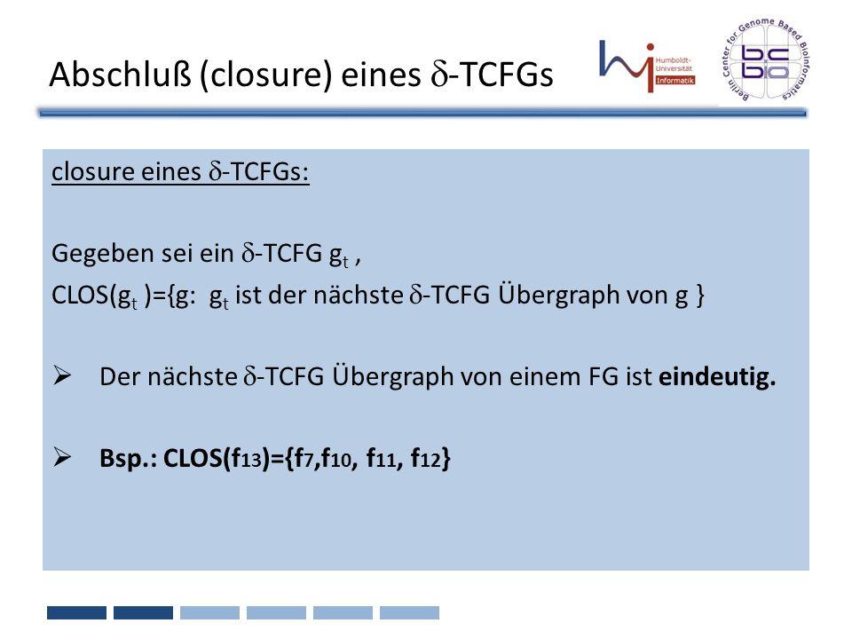 closure eines -TCFGs: Gegeben sei ein -TCFG g t, CLOS(g t )={g: g t ist der nächste -TCFG Übergraph von g } Der nächste -TCFG Übergraph von einem FG i