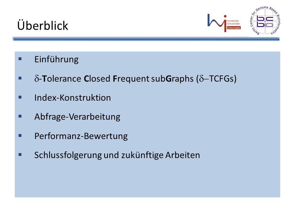 Schlussfolgerung FG-Index: Im Hauptspeicher abgelegt: – Menge der -TCFGs – Größe gesteuert über auf Festplatte gespeichert: – Andere FGs (keine -TCFGs) indiziert mit verschachtelten invertierten Indexes, die effiziente Suche erlauben.