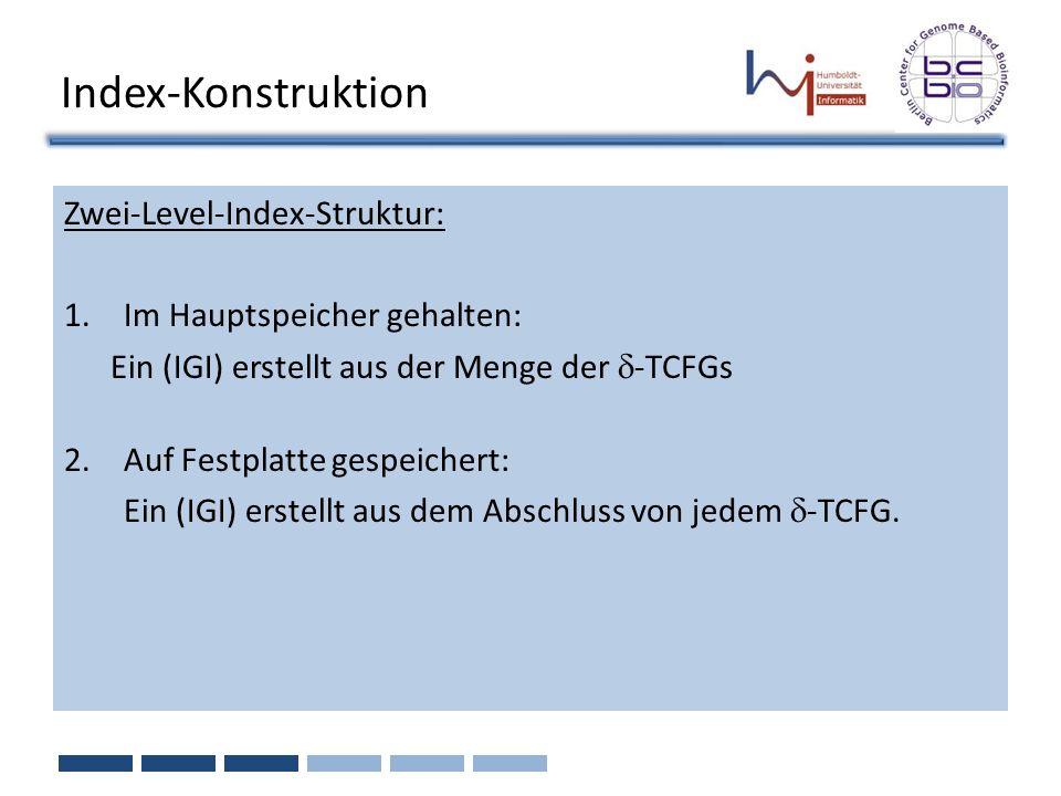 Index-Konstruktion Zwei-Level-Index-Struktur: 1.Im Hauptspeicher gehalten: Ein (IGI) erstellt aus der Menge der -TCFGs 2.Auf Festplatte gespeichert: E