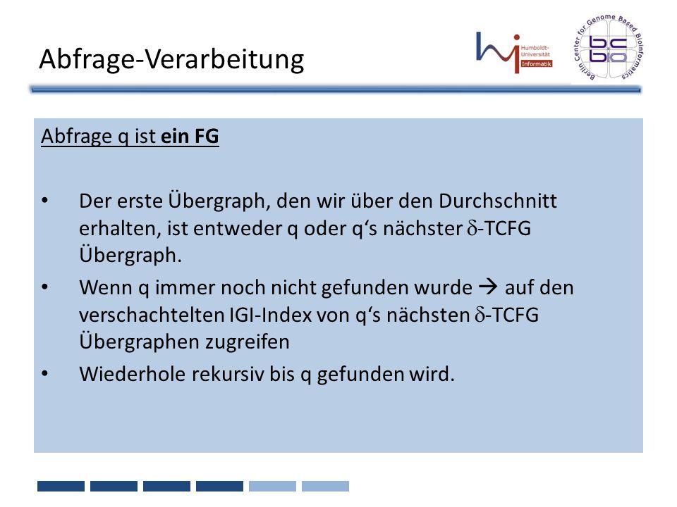 Abfrage-Verarbeitung Abfrage q ist ein FG Der erste Übergraph, den wir über den Durchschnitt erhalten, ist entweder q oder qs nächster -TCFG Übergraph