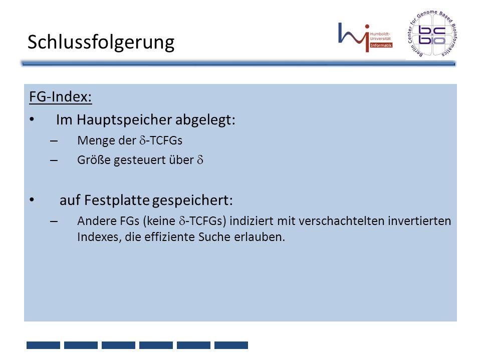 Schlussfolgerung FG-Index: Im Hauptspeicher abgelegt: – Menge der -TCFGs – Größe gesteuert über auf Festplatte gespeichert: – Andere FGs (keine -TCFGs