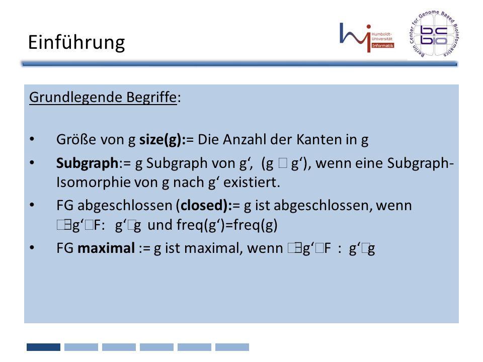Einführung Grundlegende Begriffe: Größe von g size(g):= Die Anzahl der Kanten in g Subgraph:= g Subgraph von g, (g g), wenn eine Subgraph- Isomorphie