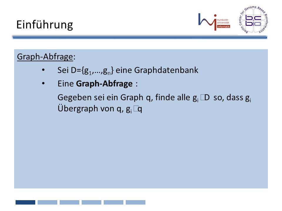 Einführung Graph-Abfrage: Sei D={g 1,…,g n } eine Graphdatenbank Eine Graph-Abfrage : Gegeben sei ein Graph q, finde alle g i D so, dass g i Übergraph