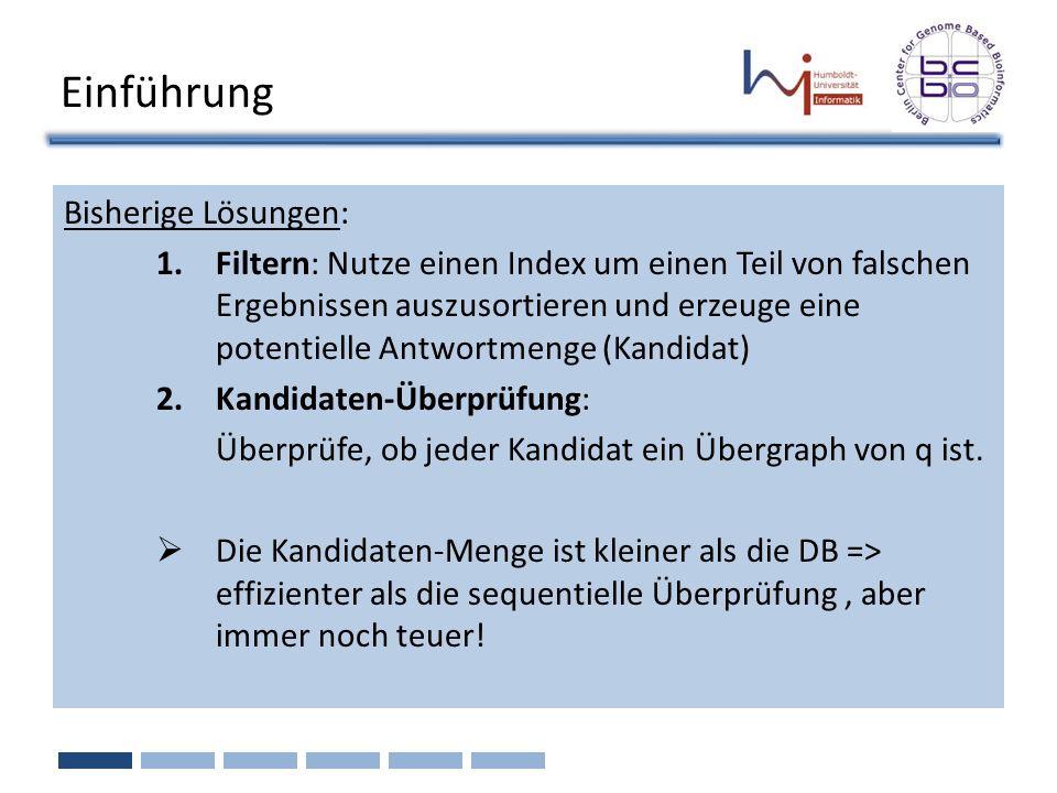 Bisherige Lösungen: 1.Filtern: Nutze einen Index um einen Teil von falschen Ergebnissen auszusortieren und erzeuge eine potentielle Antwortmenge (Kand