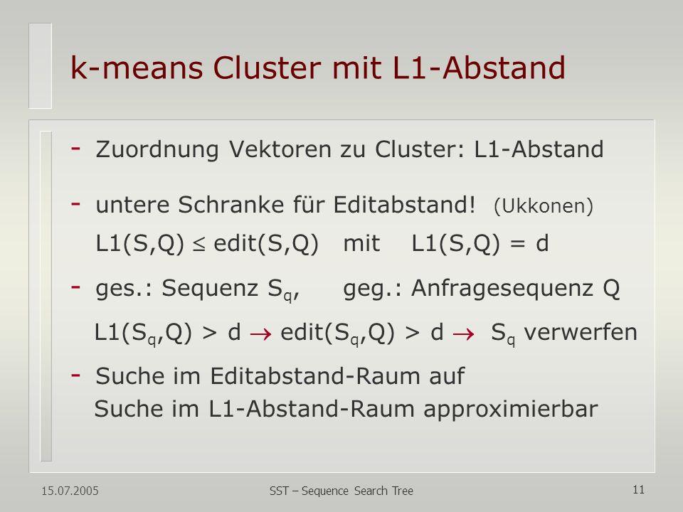 15.07.2005 SST – Sequence Search Tree 11 k-means Cluster mit L1-Abstand - Zuordnung Vektoren zu Cluster: L1-Abstand - untere Schranke für Editabstand!