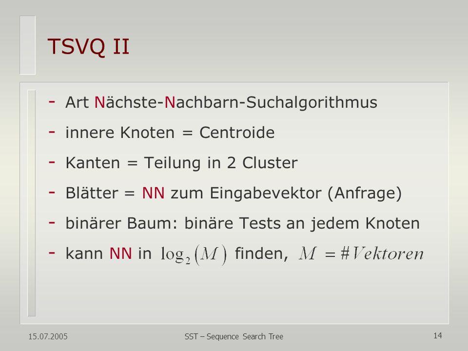 15.07.2005 SST – Sequence Search Tree 14 TSVQ II - Art Nächste-Nachbarn-Suchalgorithmus - innere Knoten = Centroide - Kanten = Teilung in 2 Cluster -