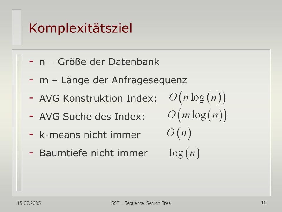 15.07.2005 SST – Sequence Search Tree 16 - n – Größe der Datenbank - m – Länge der Anfragesequenz - AVG Konstruktion Index: - AVG Suche des Index: - k