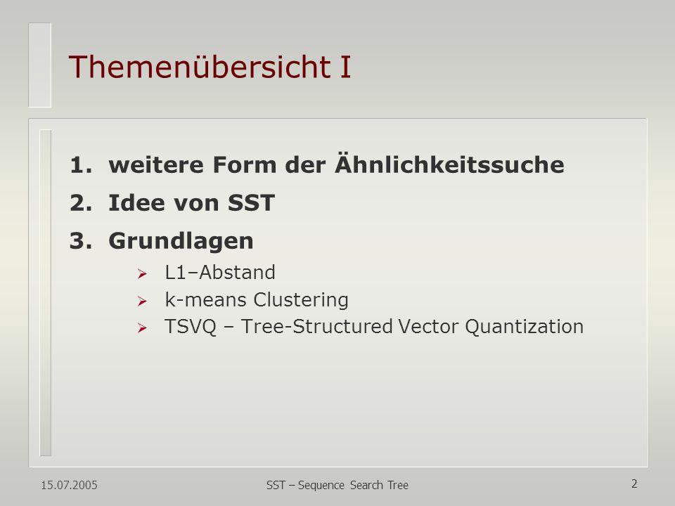 15.07.2005 SST – Sequence Search Tree 23 tree-structured Index für die DB-Fenster - jetzt nur noch: Finden nächste Nachbarn im Vektorraum - dazu:Konstruktion ts Index im Vektorraum - indem: rekursive binäre Partionierung - mittels: k-means Clustering, TSVQ - folglich: nächste Nachbarn als Set im Blatt - WENN: Baum balanciert, k-means O(n) - DANN: AVG Komplexität Baumkonstruktion O(n * log(n)), n = Größe der DB