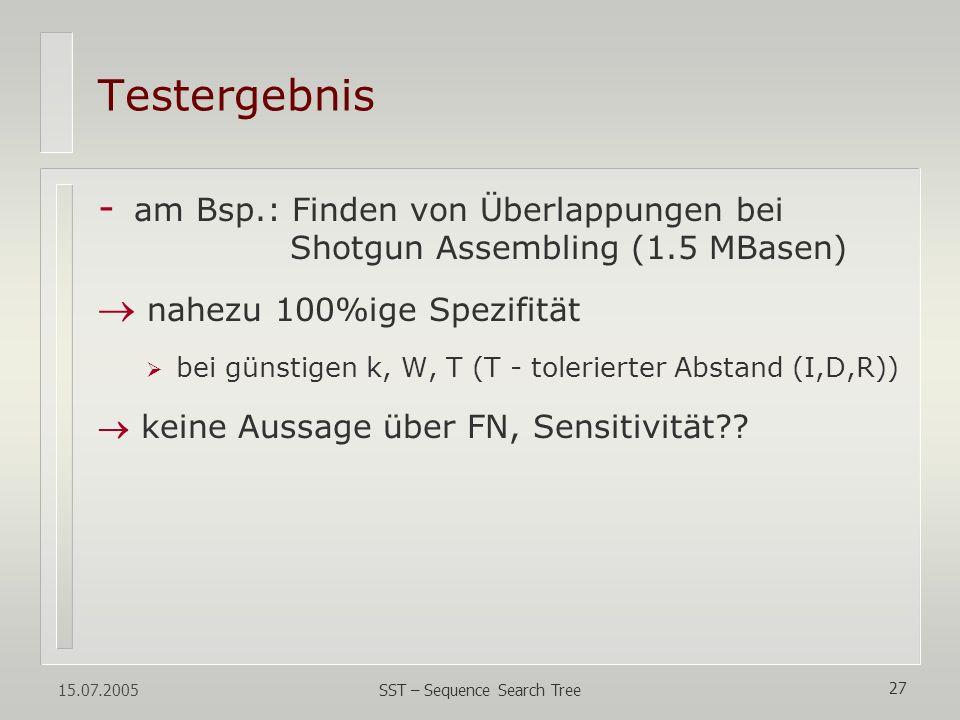 15.07.2005 SST – Sequence Search Tree 27 Testergebnis - am Bsp.: Finden von Überlappungen bei Shotgun Assembling (1.5 MBasen) nahezu 100%ige Spezifitä