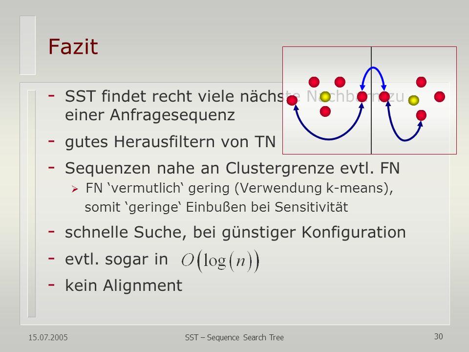15.07.2005 SST – Sequence Search Tree 30 Fazit - SST findet recht viele nächste Nachbarn zu einer Anfragesequenz - gutes Herausfiltern von TN - Sequen