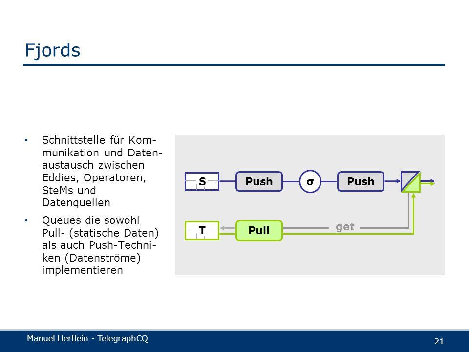 Manuel Hertlein - TelegraphCQ 21 Fjords Schnittstelle für Kom- munikation und Daten- austausch zwischen Eddies, Operatoren, SteMs und Datenquellen Que