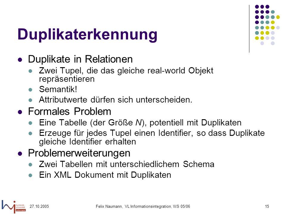 27.10.2005Felix Naumann, VL Informationsintegration, WS 05/0615 Duplikaterkennung Duplikate in Relationen Zwei Tupel, die das gleiche real-world Objekt repräsentieren Semantik.