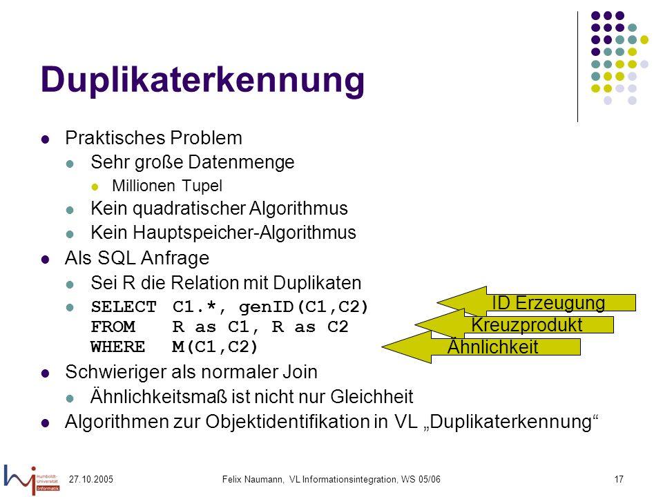 27.10.2005Felix Naumann, VL Informationsintegration, WS 05/0617 Duplikaterkennung Praktisches Problem Sehr große Datenmenge Millionen Tupel Kein quadratischer Algorithmus Kein Hauptspeicher-Algorithmus Als SQL Anfrage Sei R die Relation mit Duplikaten SELECT C1.*, genID(C1,C2) FROMR as C1, R as C2 WHEREM(C1,C2) Schwieriger als normaler Join Ähnlichkeitsmaß ist nicht nur Gleichheit Algorithmen zur Objektidentifikation in VL Duplikaterkennung ID Erzeugung Kreuzprodukt Ähnlichkeit