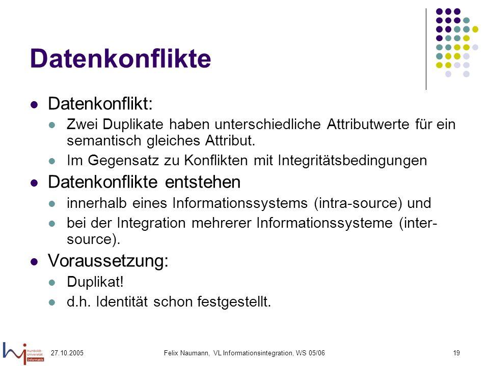 27.10.2005Felix Naumann, VL Informationsintegration, WS 05/0619 Datenkonflikte Datenkonflikt: Zwei Duplikate haben unterschiedliche Attributwerte für ein semantisch gleiches Attribut.