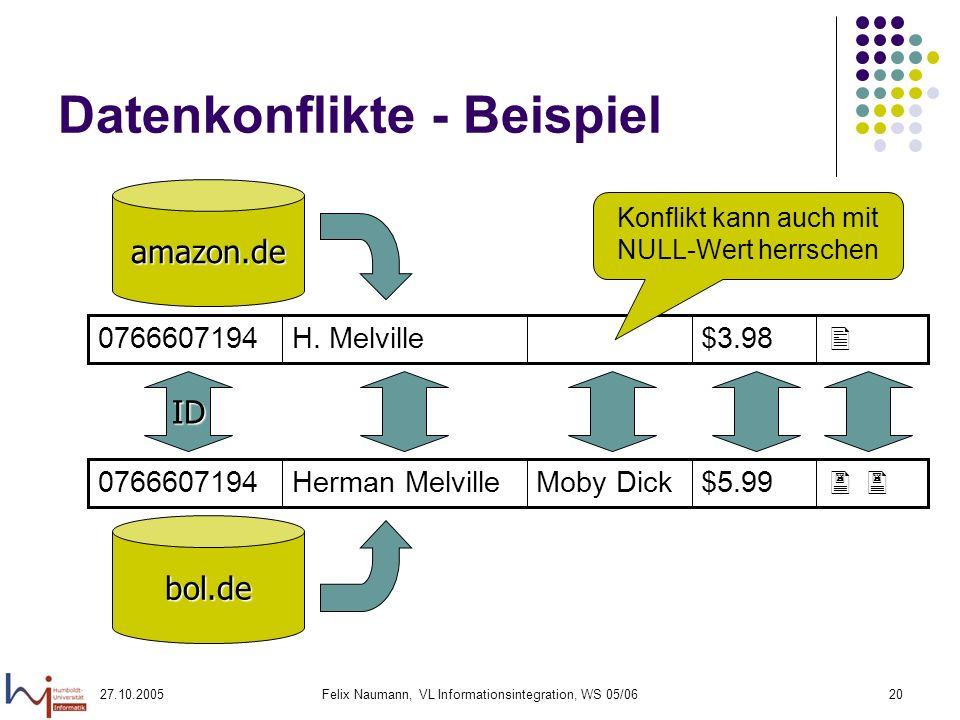 27.10.2005Felix Naumann, VL Informationsintegration, WS 05/0620 Datenkonflikte - Beispiel amazon.de bol.de ID $5.99Moby DickHerman Melville0766607194 $3.98H.