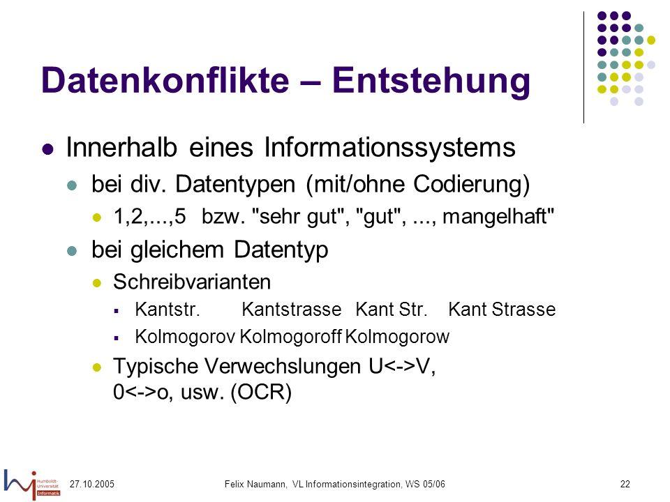 27.10.2005Felix Naumann, VL Informationsintegration, WS 05/0622 Datenkonflikte – Entstehung Innerhalb eines Informationssystems bei div.