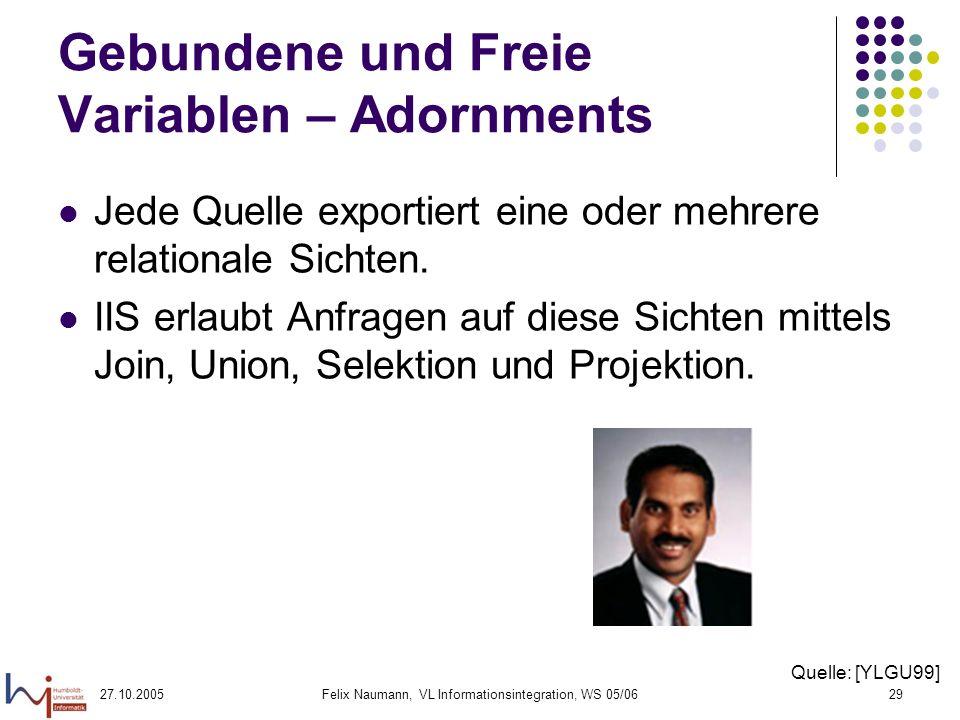 27.10.2005Felix Naumann, VL Informationsintegration, WS 05/0629 Gebundene und Freie Variablen – Adornments Jede Quelle exportiert eine oder mehrere relationale Sichten.