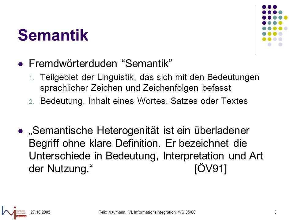 27.10.2005Felix Naumann, VL Informationsintegration, WS 05/063 Semantik Fremdwörterduden Semantik 1.
