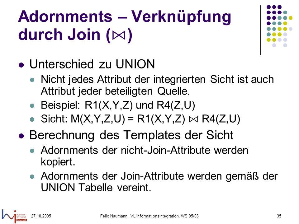 27.10.2005Felix Naumann, VL Informationsintegration, WS 05/0635 Adornments – Verknüpfung durch Join ( ) Unterschied zu UNION Nicht jedes Attribut der integrierten Sicht ist auch Attribut jeder beteiligten Quelle.