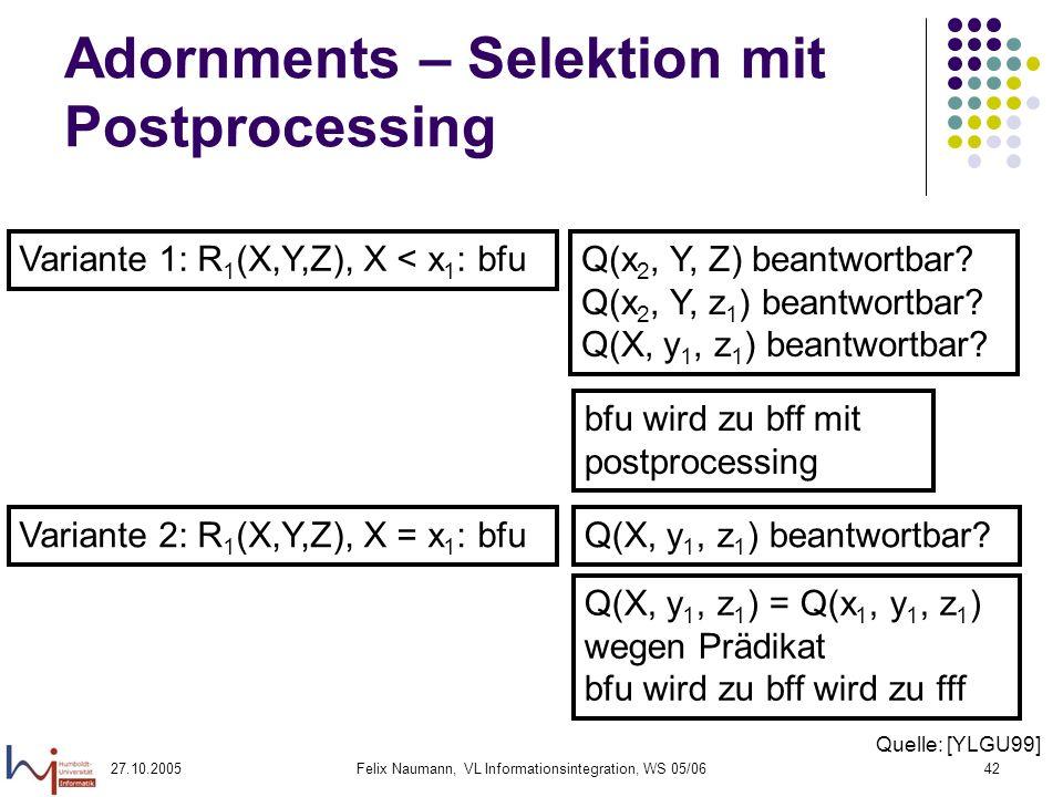 27.10.2005Felix Naumann, VL Informationsintegration, WS 05/0642 Adornments – Selektion mit Postprocessing Variante 1: R 1 (X,Y,Z), X < x 1 : bfu Q(x 2, Y, Z) beantwortbar.