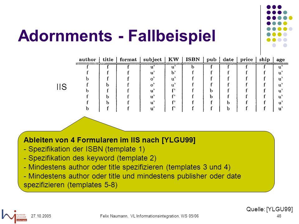 27.10.2005Felix Naumann, VL Informationsintegration, WS 05/0648 Adornments - Fallbeispiel IIS Ableiten von 4 Formularen im IIS nach [YLGU99] - Spezifikation der ISBN (template 1) - Spezifikation des keyword (template 2) - Mindestens author oder title spezifizieren (templates 3 und 4) - Mindestens author oder title und mindestens publisher oder date spezifizieren (templates 5-8) Quelle: [YLGU99]