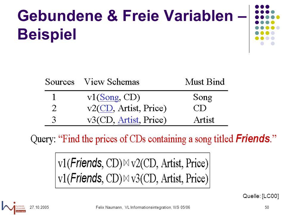 27.10.2005Felix Naumann, VL Informationsintegration, WS 05/0650 Gebundene & Freie Variablen – Beispiel Quelle: [LC00]