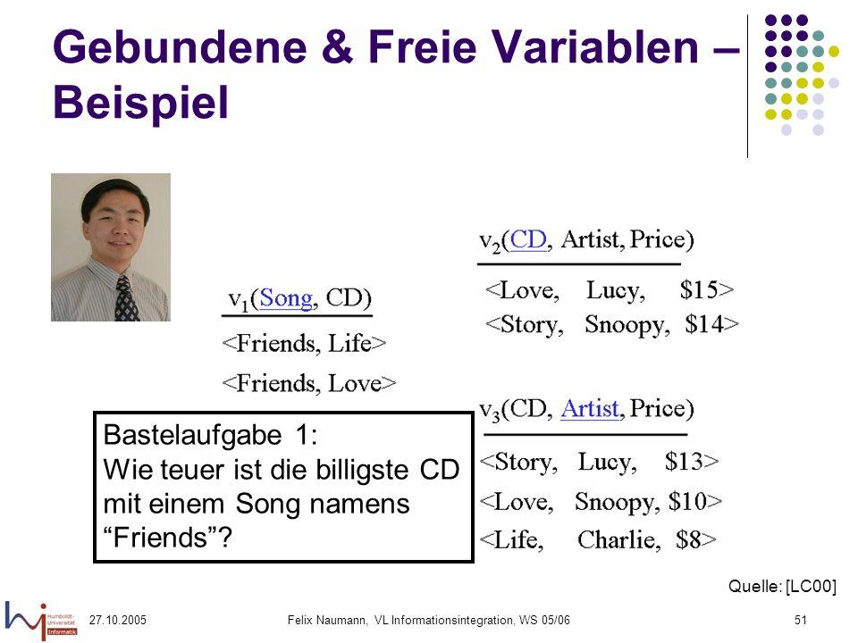 27.10.2005Felix Naumann, VL Informationsintegration, WS 05/0651 Gebundene & Freie Variablen – Beispiel Bastelaufgabe 1: Wie teuer ist die billigste CD mit einem Song namens Friends.
