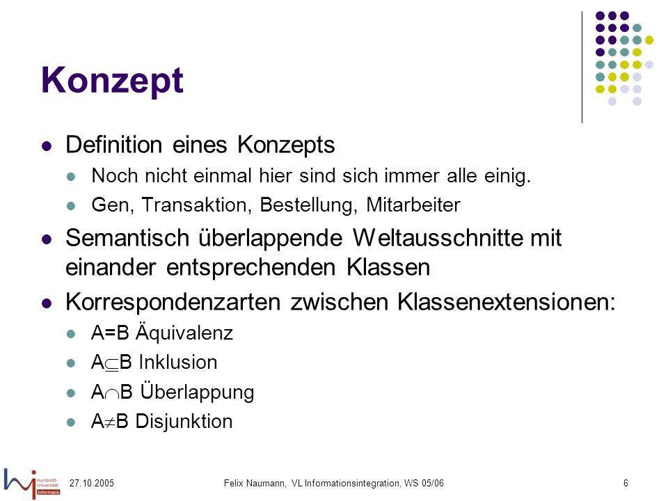 27.10.2005Felix Naumann, VL Informationsintegration, WS 05/066 Konzept Definition eines Konzepts Noch nicht einmal hier sind sich immer alle einig.