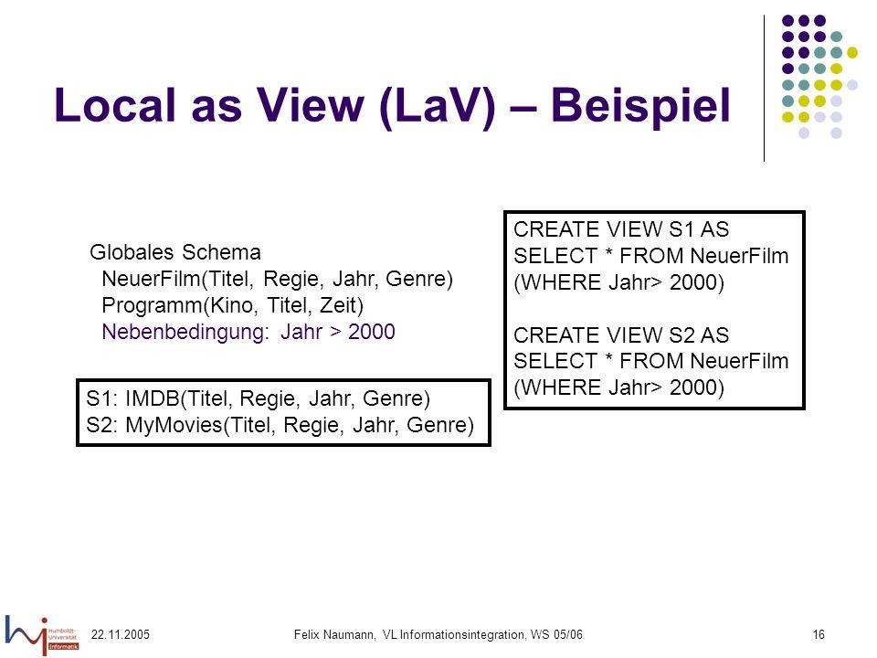 22.11.2005Felix Naumann, VL Informationsintegration, WS 05/0616 Local as View (LaV) – Beispiel Globales Schema NeuerFilm(Titel, Regie, Jahr, Genre) Pr