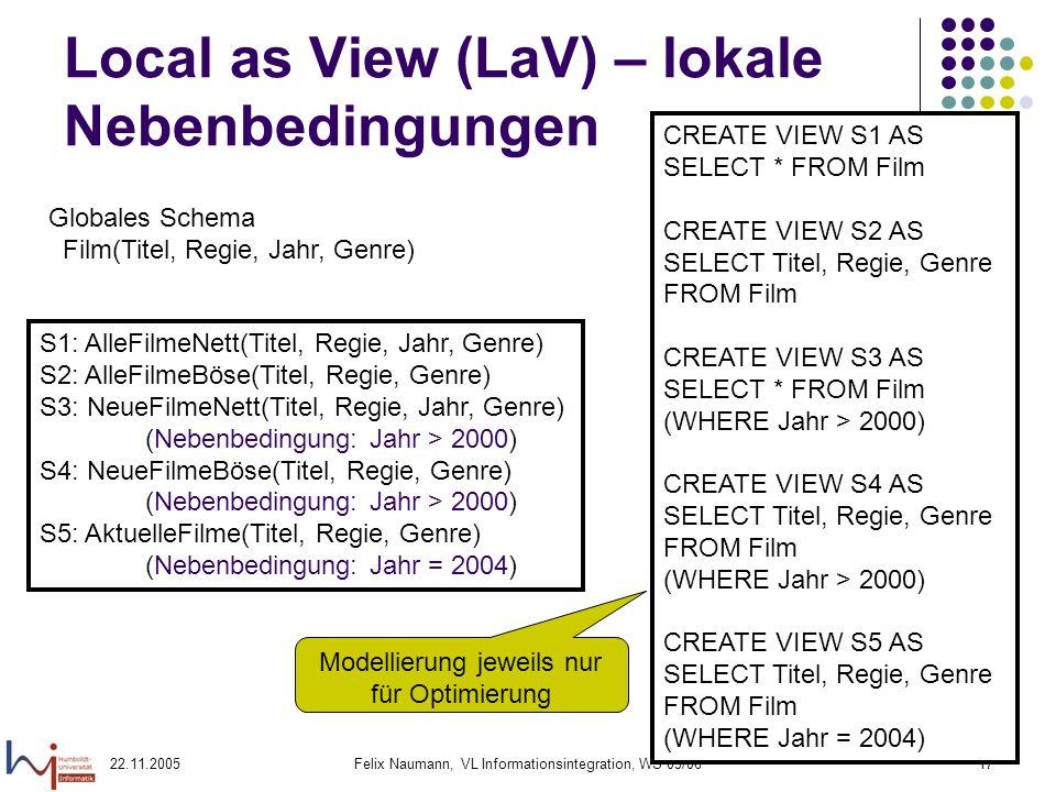 22.11.2005Felix Naumann, VL Informationsintegration, WS 05/0617 Local as View (LaV) – lokale Nebenbedingungen Globales Schema Film(Titel, Regie, Jahr,