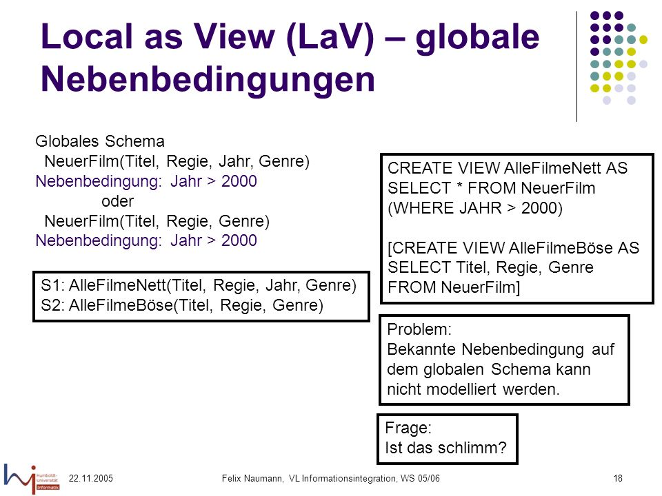 22.11.2005Felix Naumann, VL Informationsintegration, WS 05/0618 Local as View (LaV) – globale Nebenbedingungen CREATE VIEW AlleFilmeNett AS SELECT * F