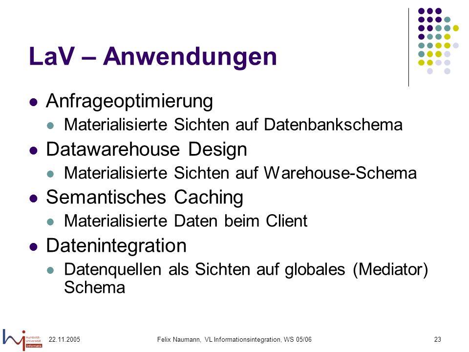 22.11.2005Felix Naumann, VL Informationsintegration, WS 05/0623 LaV – Anwendungen Anfrageoptimierung Materialisierte Sichten auf Datenbankschema Dataw