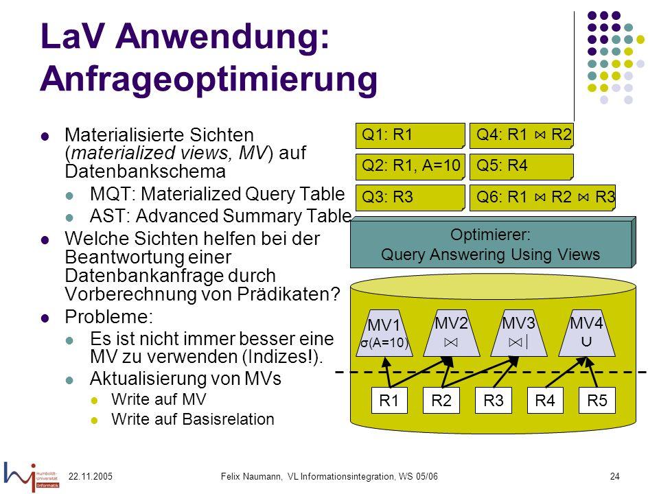 22.11.2005Felix Naumann, VL Informationsintegration, WS 05/0624 LaV Anwendung: Anfrageoptimierung Materialisierte Sichten (materialized views, MV) auf