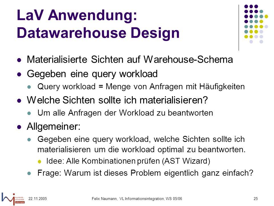 22.11.2005Felix Naumann, VL Informationsintegration, WS 05/0625 LaV Anwendung: Datawarehouse Design Materialisierte Sichten auf Warehouse-Schema Gegeb