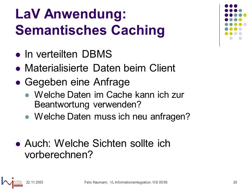 22.11.2005Felix Naumann, VL Informationsintegration, WS 05/0626 LaV Anwendung: Semantisches Caching In verteilten DBMS Materialisierte Daten beim Clie