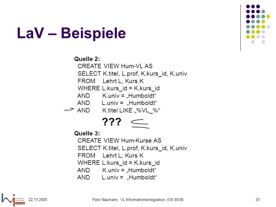 22.11.2005Felix Naumann, VL Informationsintegration, WS 05/0633 LaV – Beispiele Quelle 2: CREATE VIEW Hum-VL AS SELECT K.titel, L.prof, K.kurs_id, K.u