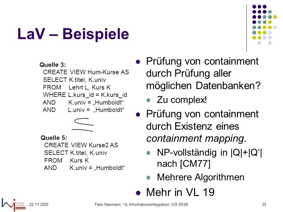 22.11.2005Felix Naumann, VL Informationsintegration, WS 05/0635 LaV – Beispiele Prüfung von containment durch Prüfung aller möglichen Datenbanken? Zu