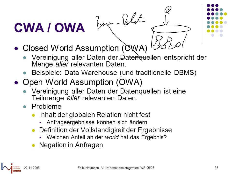 22.11.2005Felix Naumann, VL Informationsintegration, WS 05/0636 CWA / OWA Closed World Assumption (CWA) Vereinigung aller Daten der Datenquellen entsp
