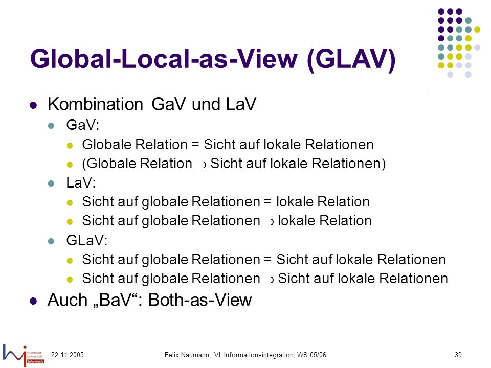 22.11.2005Felix Naumann, VL Informationsintegration, WS 05/0639 Global-Local-as-View (GLAV) Kombination GaV und LaV GaV: Globale Relation = Sicht auf
