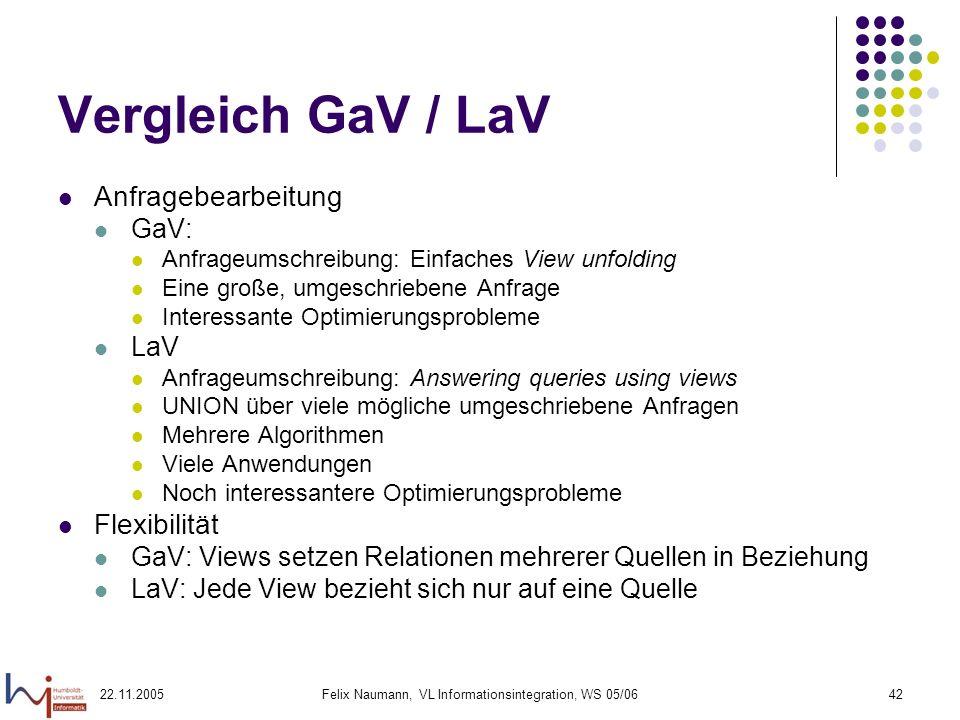 22.11.2005Felix Naumann, VL Informationsintegration, WS 05/0642 Vergleich GaV / LaV Anfragebearbeitung GaV: Anfrageumschreibung: Einfaches View unfold
