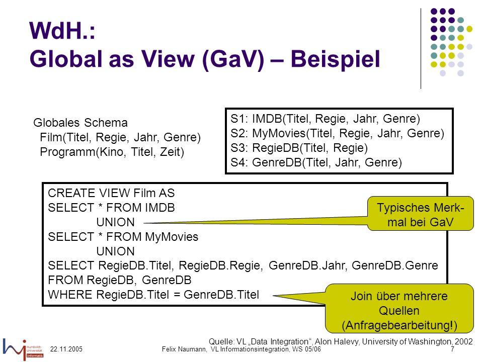 22.11.2005Felix Naumann, VL Informationsintegration, WS 05/067 WdH.: Global as View (GaV) – Beispiel Globales Schema Film(Titel, Regie, Jahr, Genre) P