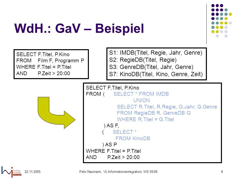 22.11.2005Felix Naumann, VL Informationsintegration, WS 05/068 WdH.: GaV – Beispiel SELECT F.Titel, P.Kino FROM Film F, Programm P WHERE F.Titel = P.T
