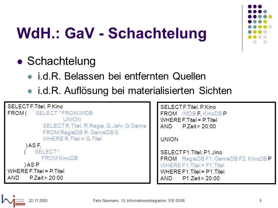 22.11.2005Felix Naumann, VL Informationsintegration, WS 05/069 WdH.: GaV - Schachtelung Schachtelung i.d.R. Belassen bei entfernten Quellen i.d.R. Auf
