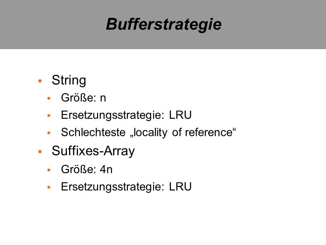 String Größe: n Ersetzungsstrategie: LRU Schlechteste locality of reference Suffixes-Array Größe: 4n Ersetzungsstrategie: LRU