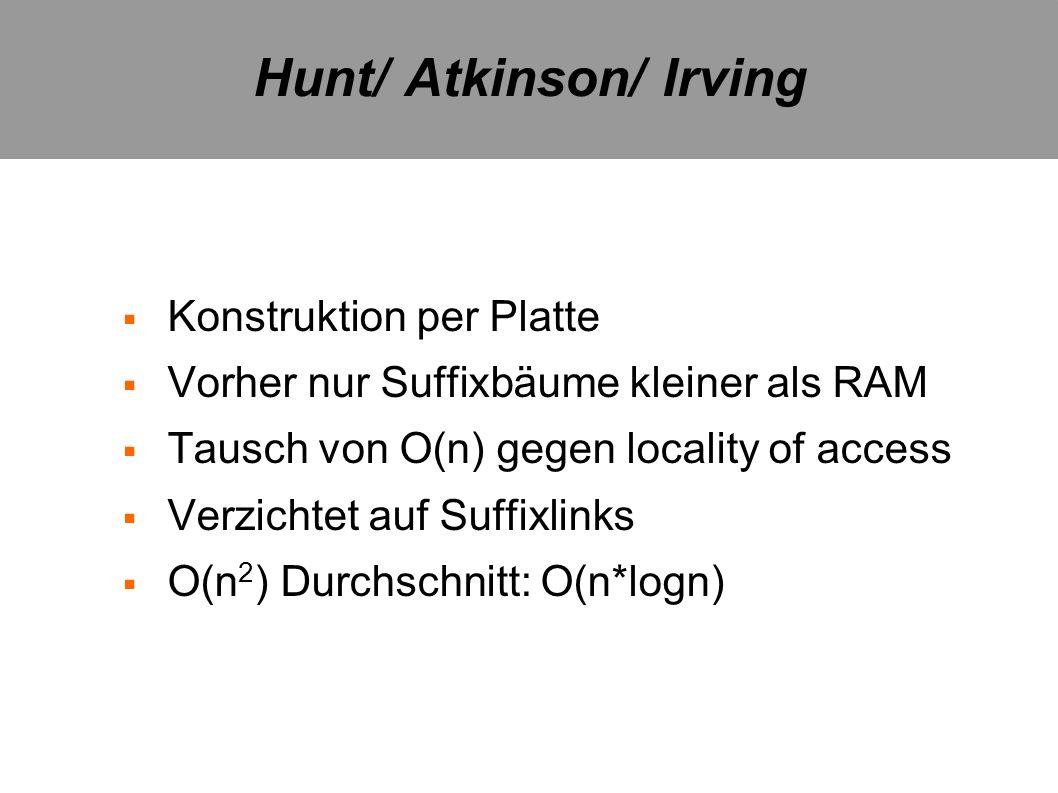 Hunt/ Atkinson/ Irving Konstruktion per Platte Vorher nur Suffixbäume kleiner als RAM Tausch von O(n) gegen locality of access Verzichtet auf Suffixli