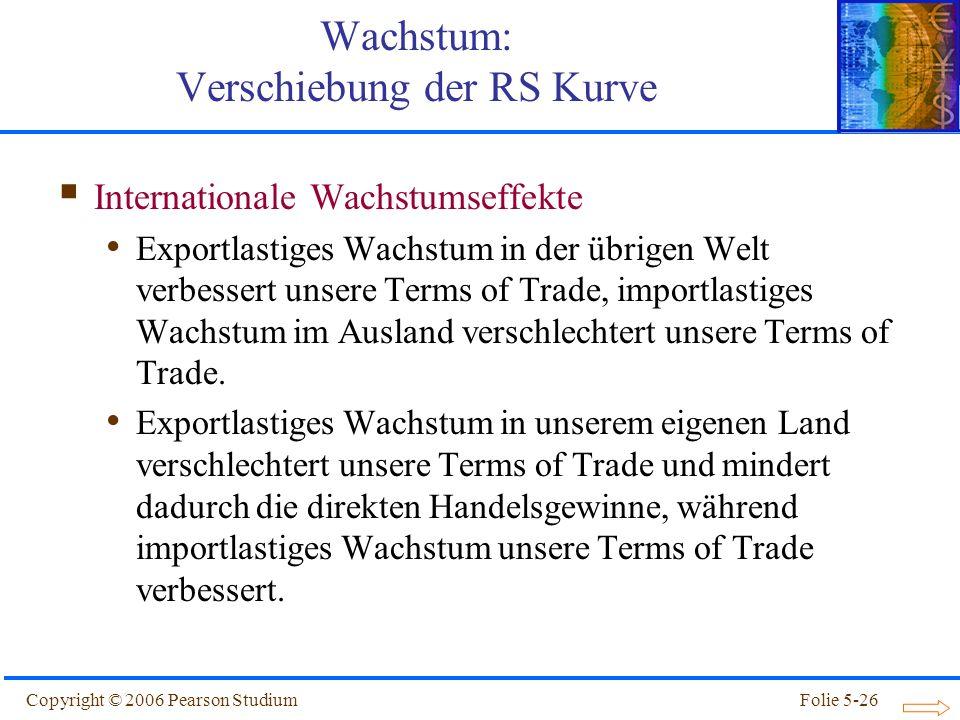 Copyright © 2006 Pearson StudiumFolie 5-26 Internationale Wachstumseffekte Exportlastiges Wachstum in der übrigen Welt verbessert unsere Terms of Trad