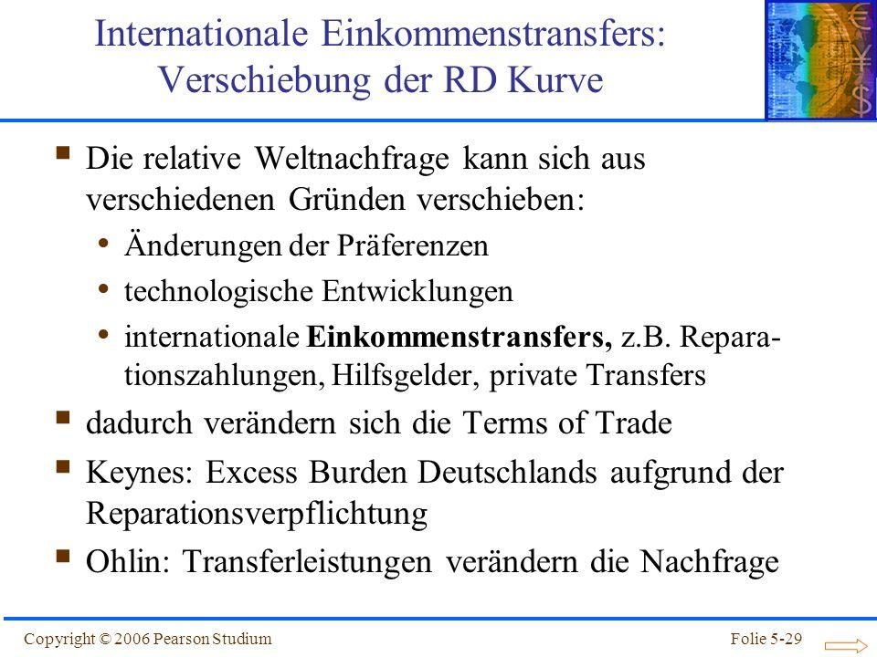 Copyright © 2006 Pearson StudiumFolie 5-29 Internationale Einkommenstransfers: Verschiebung der RD Kurve Die relative Weltnachfrage kann sich aus vers
