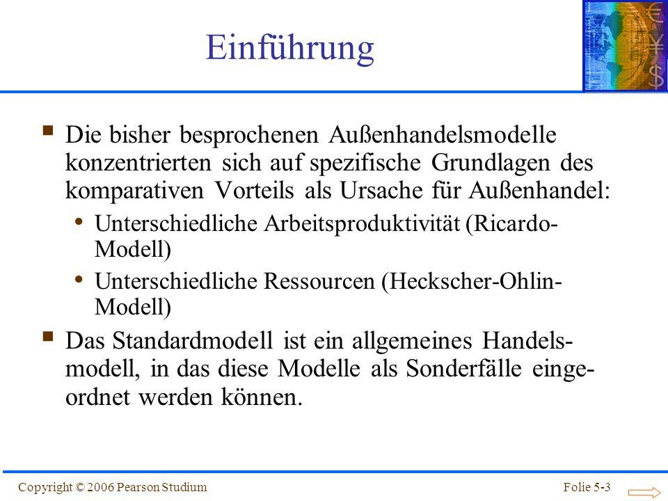 Copyright © 2006 Pearson StudiumFolie 5-4 Standardmodell einer Handel treibenden Volkswirtschaft Das Standardmodell des Handels basiert im wesentlichen auf auf drei Gemeinsamkeiten der bisher vorgestellten Modelle: Produktionsmöglichkeiten lassen sich durch die Transformationskurve darstellen.